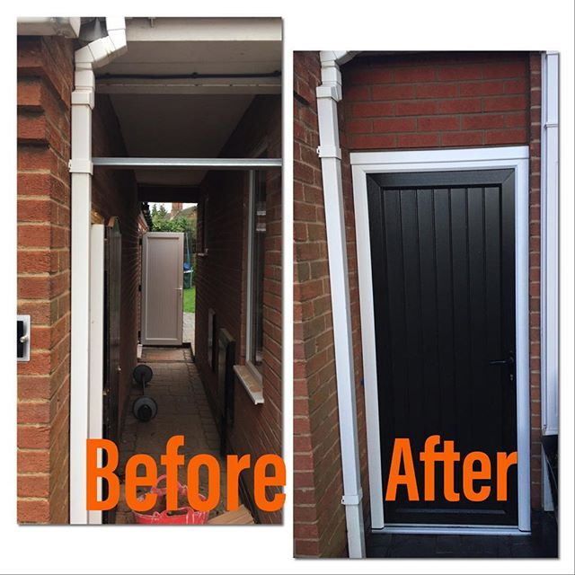 A before and after shot of the new entry doorway and brickwork. #morethanjustplumbing&heating